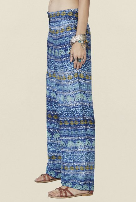 Global Desi Blue Printed Reef Pants