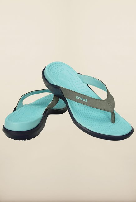 Crocs Smoke & Ice Blue Flip Flops