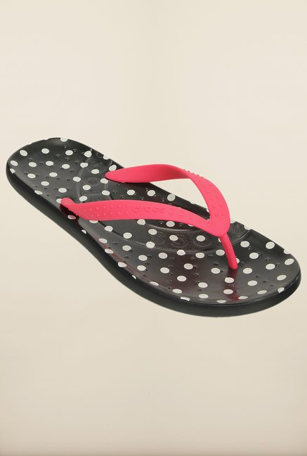 Crocs Poppy & Black Flip Flops