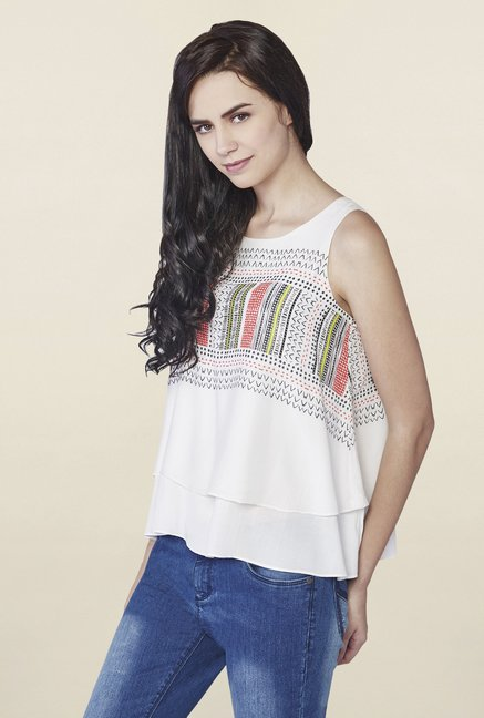 AND Cream Gia Double-Layered Top