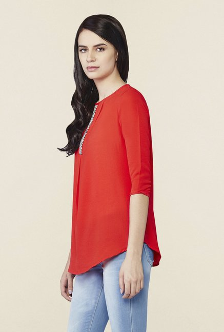 AND Red Cirilla Embellished Top