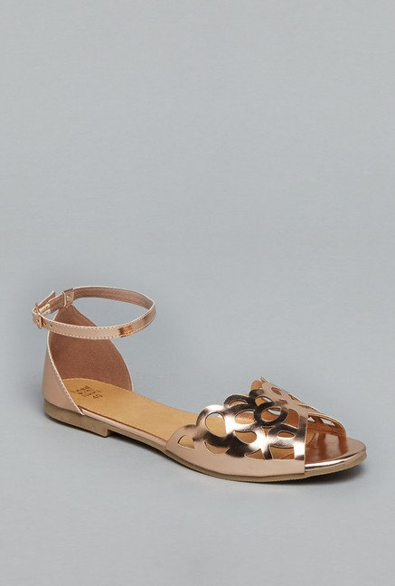 Head Over Heels Rose Gold Ankle Strap Sandals