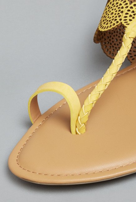 Head Over Heels Yellow Flat Sandals
