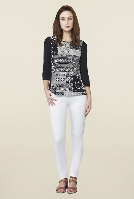 AND Black & White Ashen Printed Top