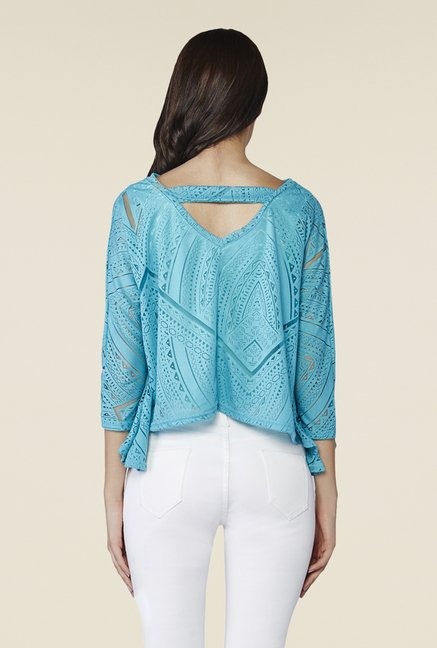 AND Aqua Blue Asymmetric Top