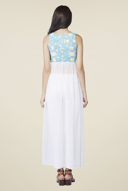 AND Blue & White Charlotte Front-Slit Top