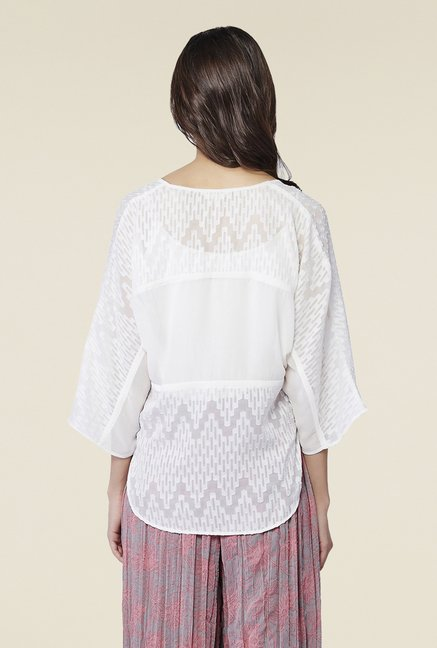 AND White Ethal Textured Top