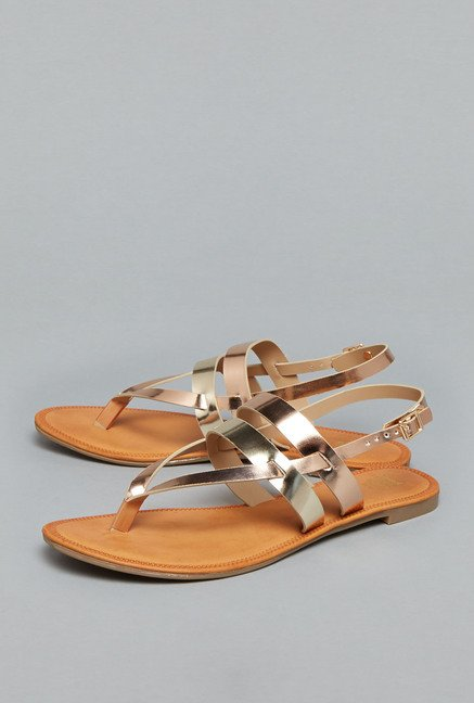 Head Over Heels Rose Gold Cross Strap Sandals