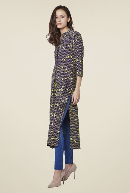 AND Navy & Yellow Lenka Printed Tunic