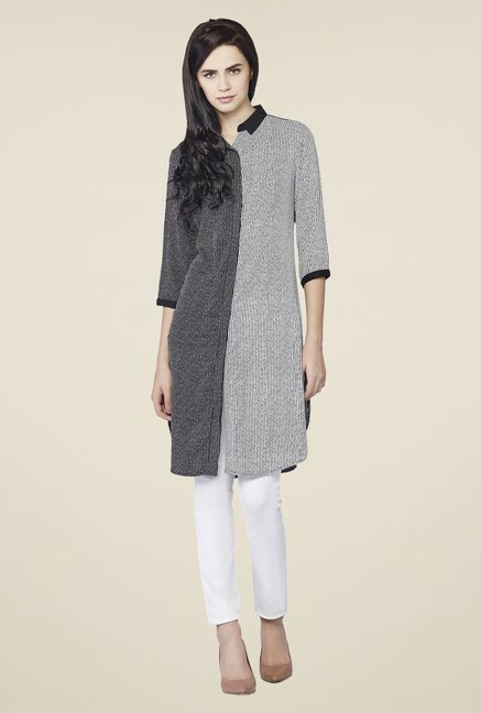 AND Grey Printed Audrey Two Tone Tunic