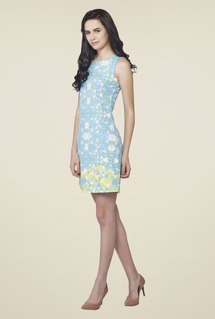 AND Blue Charlotte Printed Dress