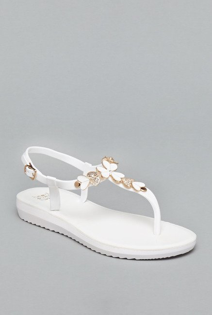 Head Over Heels White Back Strap Sandals