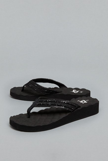 Head Over Heels Black Thong Flip Flops