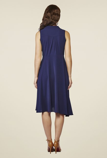 AND Navy Solid A-Line Dress