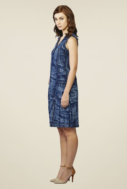 AND Blue Saxon Printed Denim Dress