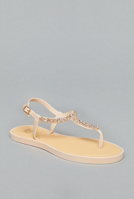 Head Over Heels Nude Buckle Sandals