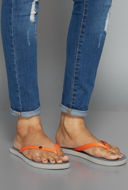 Head Over Heels Orange Thong Flip Flops
