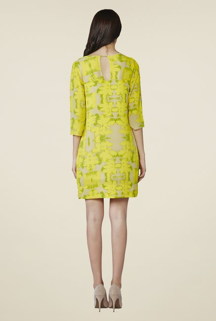AND Yellow Lynn Printed Shift Dress