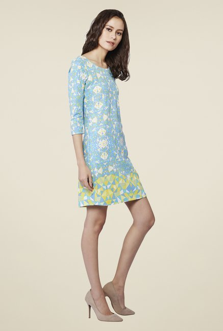 AND Blue Charlotte Printed Short Dress