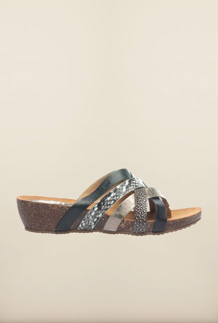 Pavers England Black & Brown Cross Strap Wedges