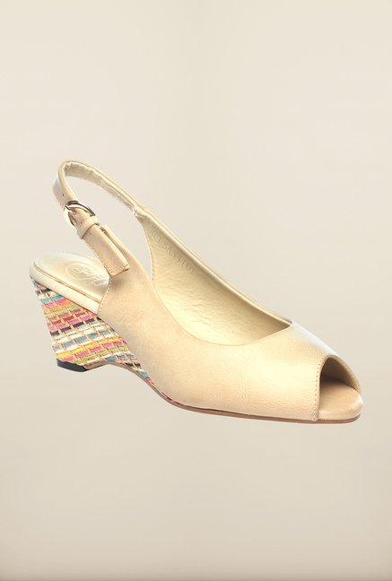 Pavers England Beige Back Strap Wedges