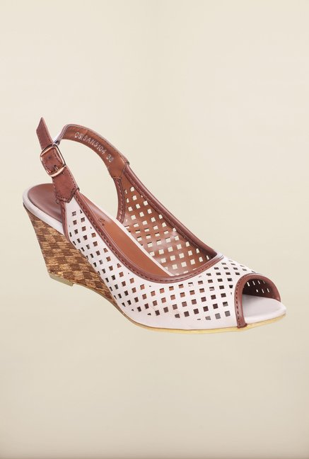 Pavers England White & Brown Back Strap Wedges