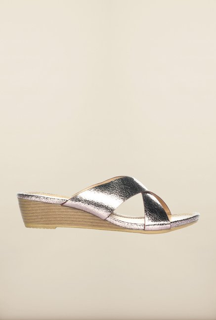 Pavers England Pewter Cross Strap Wedges