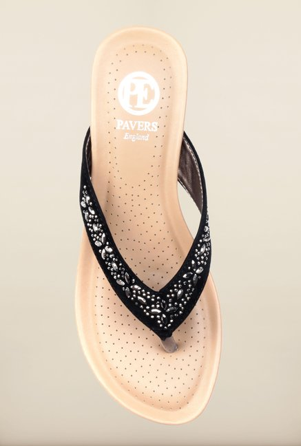 Pavers England Black Thong Wedges