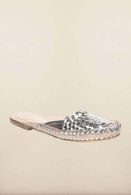 Pavers England Silver Mule Sandals