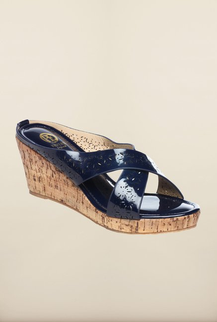 Pavers England Navy Cross Strap Wedges