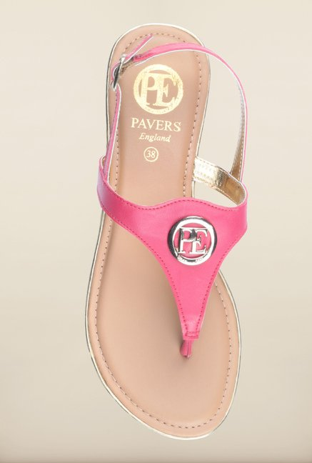 Pavers England Pink Back Strap Sandals