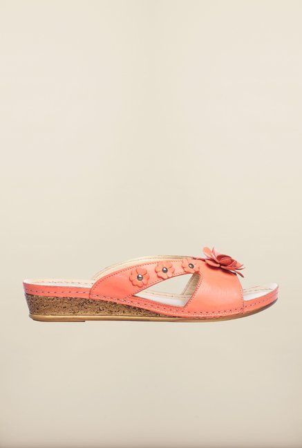Pavers England Orange Wedge Sandals