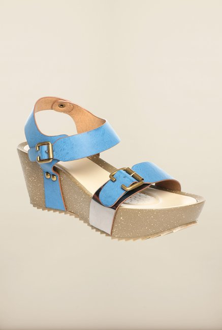 Pavers England Blue Ankle Strap Wedges
