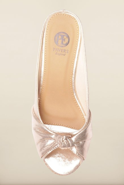 Pavers England Golden Peep Toe Wedges