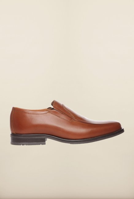 Pavers England Tan Formal Slip-Ons