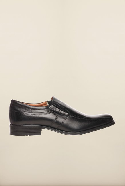 Pavers England Black Formal Slip-On Shoes