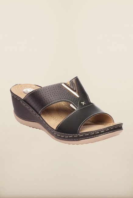 Pavers England Black Wedge Sandals