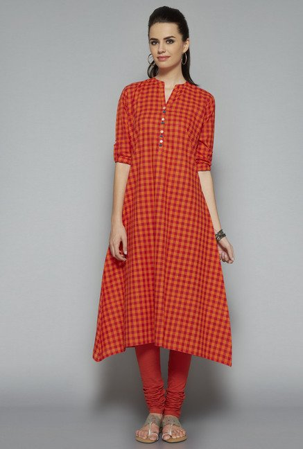 Utsa Red Checks Kurta