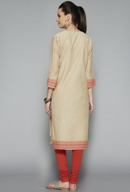 Utsa Beige Printed Regular Fit Kurta
