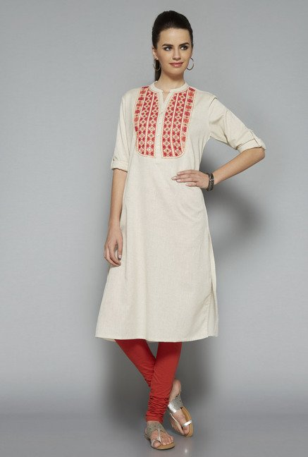 Utsa Beige Embroidered Kurta
