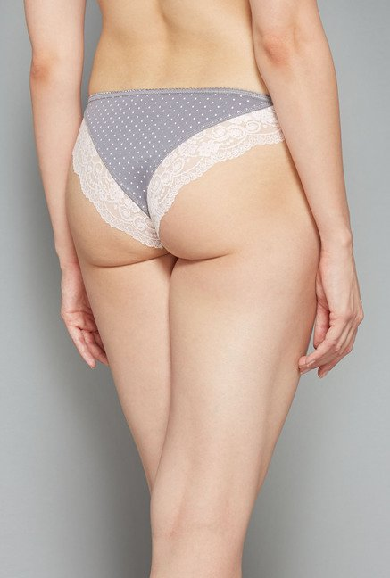 Wunderlove Grey & White Brazilian Panties (Pack Of 3)