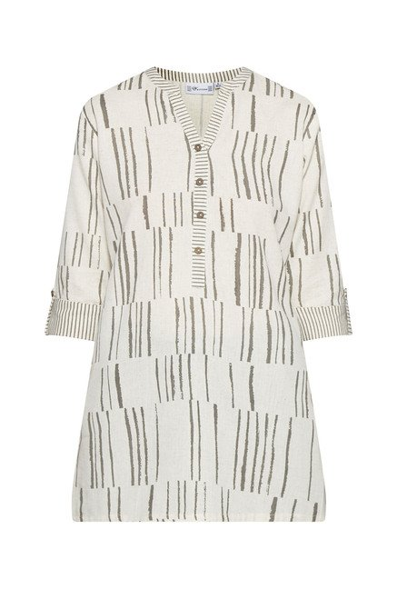 Utsa Off White Printed Cotton Kurti