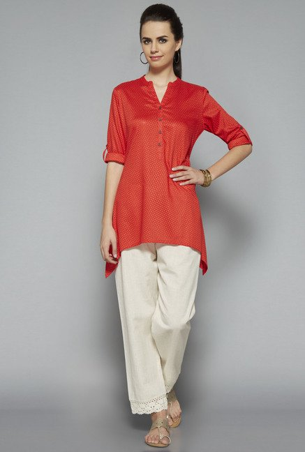 Utsa Orange Printed Kurti