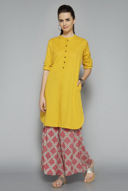 Utsa Yellow Solid Kurta