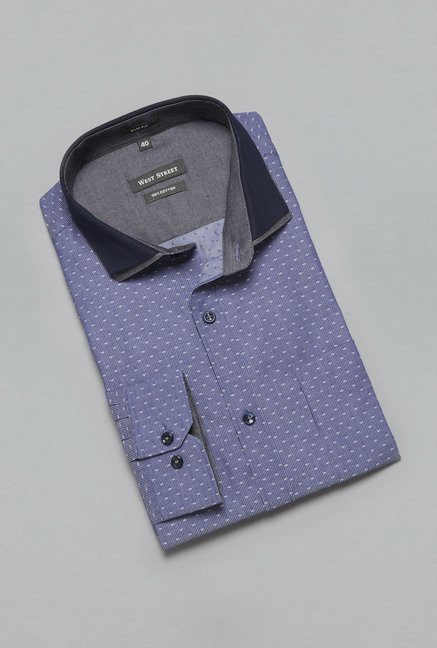 Weststreet Navy Printed Cotton Shirt