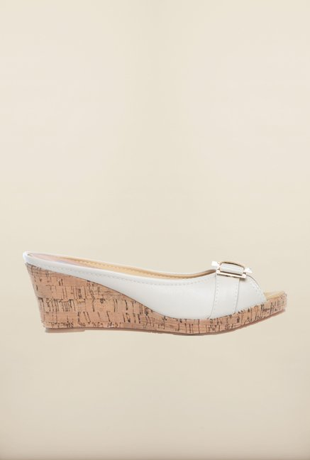 Pavers England White Peep Toe Wedges