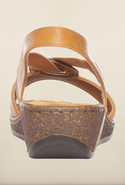 Pavers England Tan Back Strap Wedges