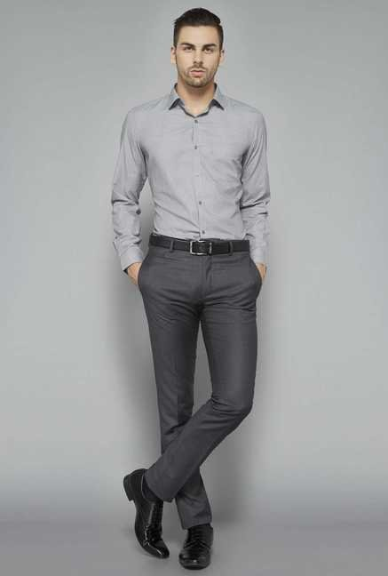 Weststreet Grey Checks Slim Fit Shirt