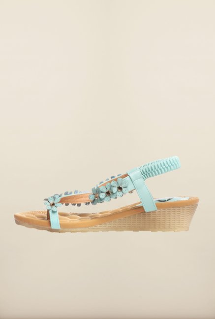 Pavers England Light Turquoise Ankle Strap Wedges