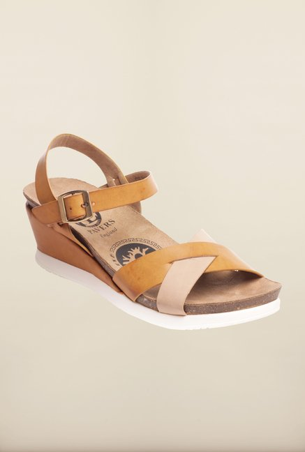 Pavers England Tan & Beige Ankle Strap Wedges